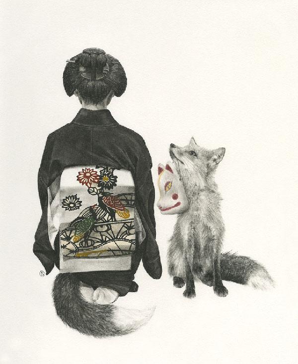 Stephanie Inagaki drawing fox kimono
