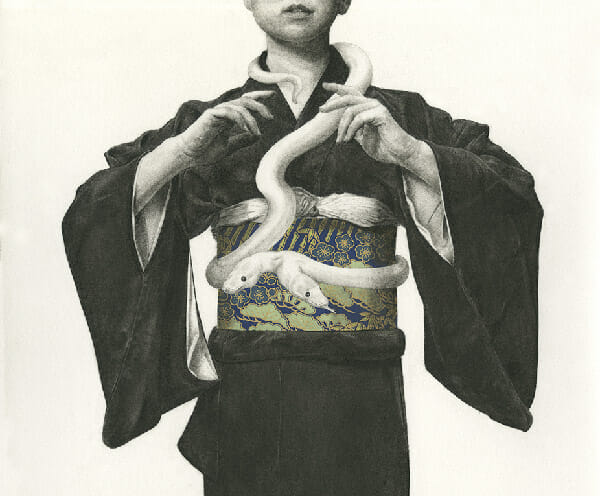 Stephanie Inagaki two headed white snake drawing