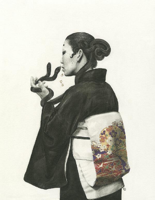Stephanie Inagaki drawing two headed snake