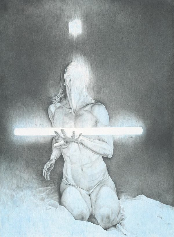 Daan Noppen blue nude drawing