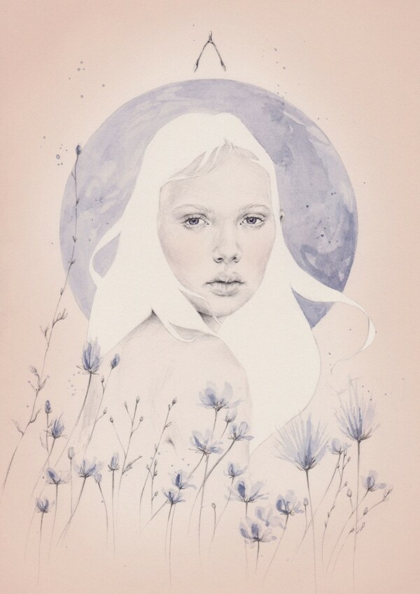 Emma Leonard blue moon and girl painting