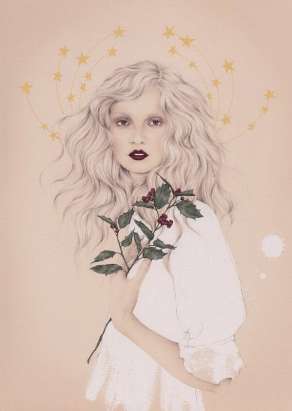 Emma Leonard- girl with holly and stars painting