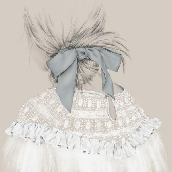 Emma Leonard girl with blue ribbon painting