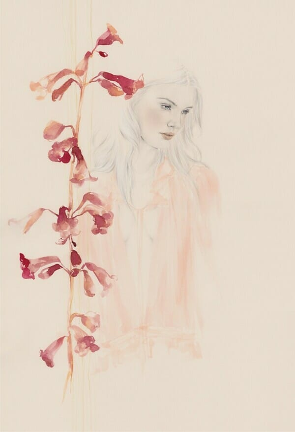 Emma Leonard girl with pink flower painting