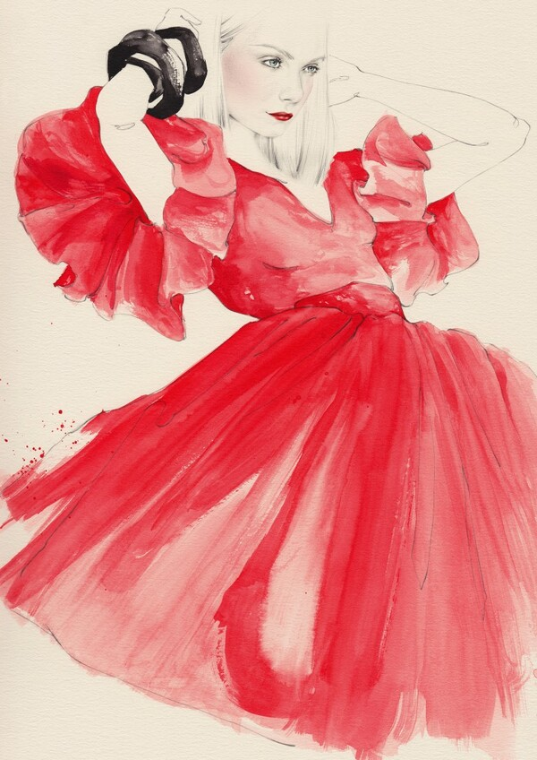Emma Leonard woman in red dress painting