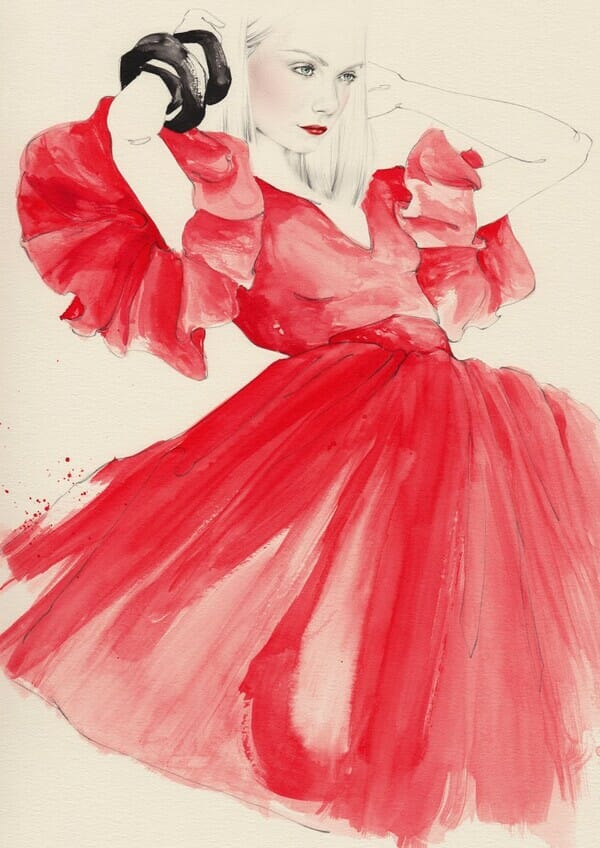 Emma Leonard woman in red dress painting