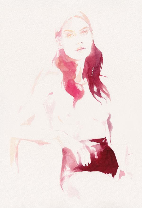 Emma Leonard pink and purple watercolour painting