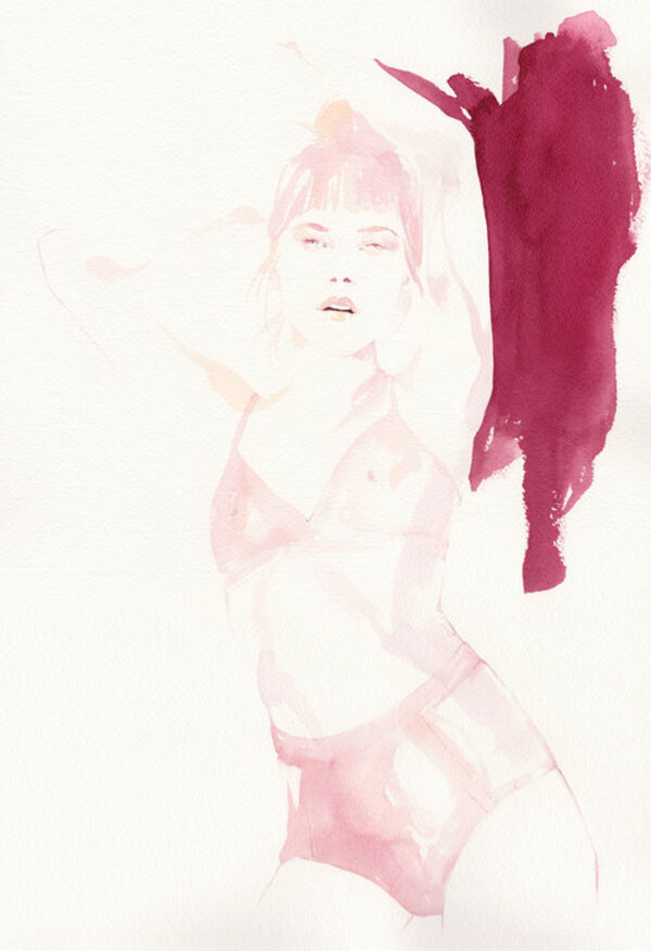 Emma Leonard woman in pink and lingerie painting