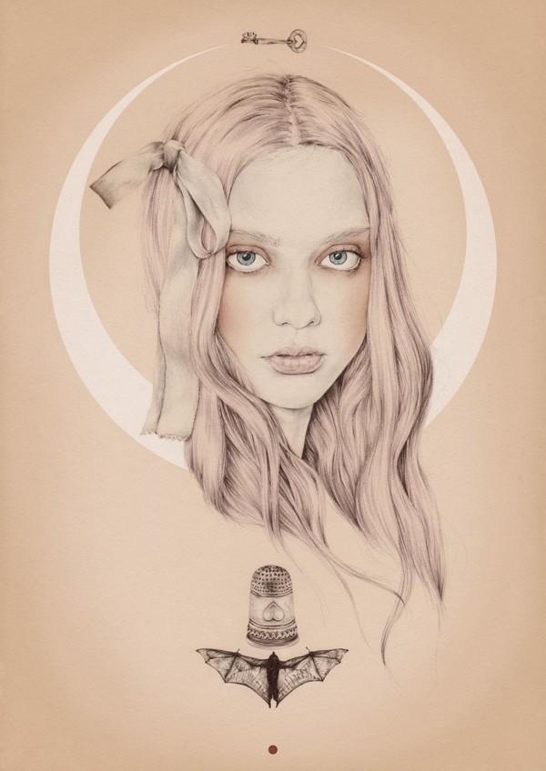 Emma Leonard girl with crescent moon painting