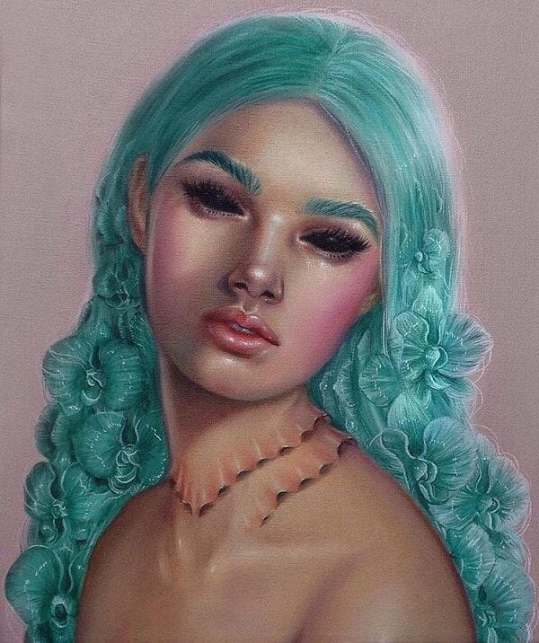 Relm teal hair mermaid painting