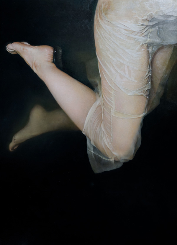 Anne-Christine Roda - Gaelle 111 figurative painting of legs of a girl in wet white dress