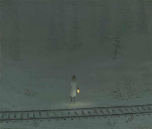 Aron Wiesenfeld girl in snow field before train tracks painting