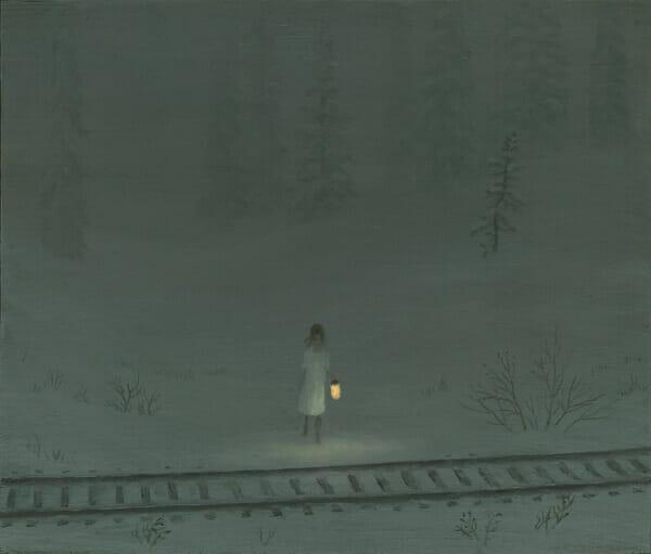 Aron Wiesenfeld girl in snow field before train tracks painting