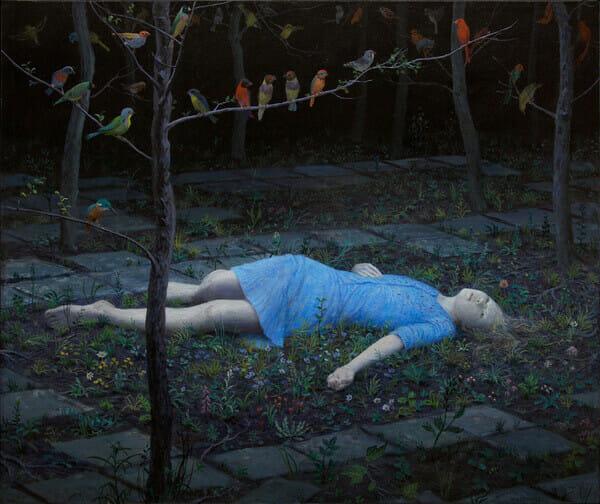 Aron Wiesenfeld girl lying down in garden painting