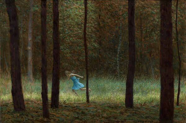 Aron Wiesenfeld girl running through forest painting