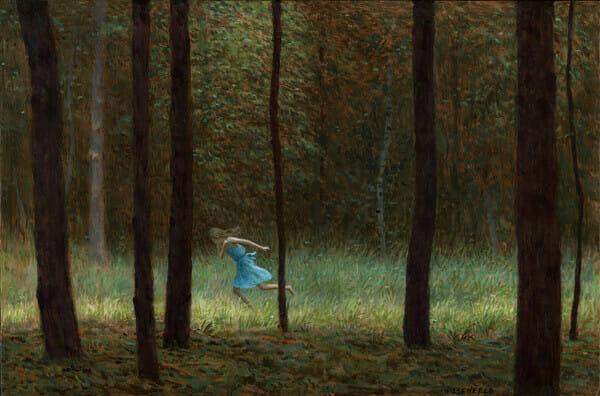 Aron Wiesenfeld girl running through forest painting