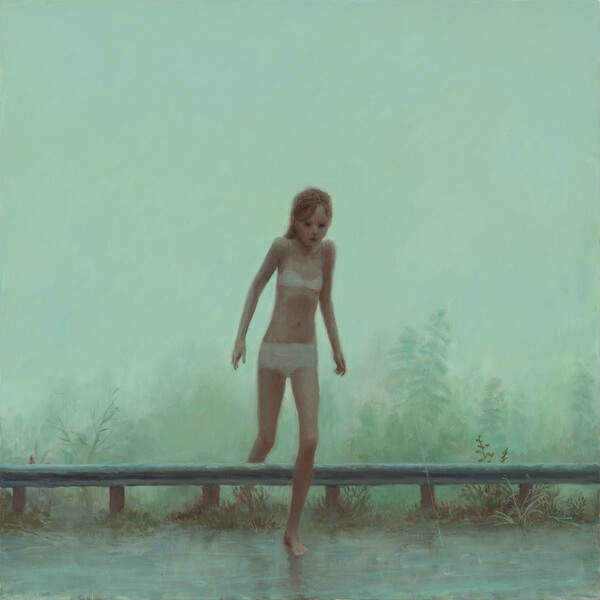 Aron Wiesenfeld girl stepping onto road painting