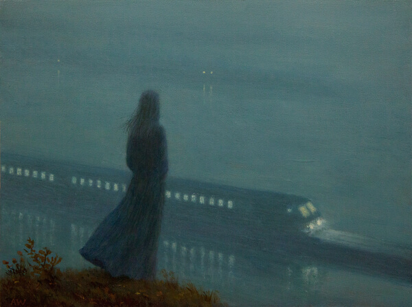 Aron Wiesenfeld girl watching train painting