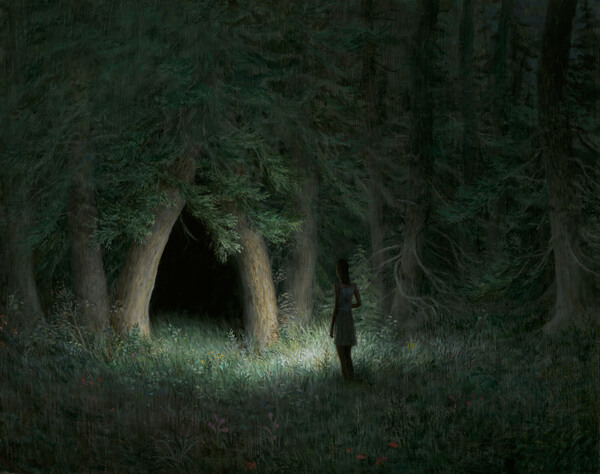 Aron Wiesenfeld girl in dark forest painting