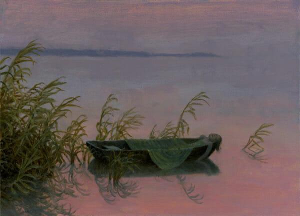 Aron Wiesenfeld girl in boat painting