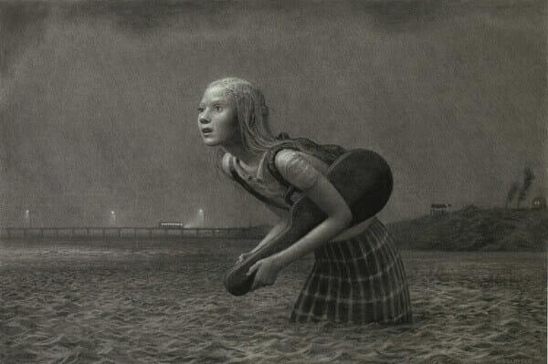 Aron Wiesenfeld girl in water graphite drawing