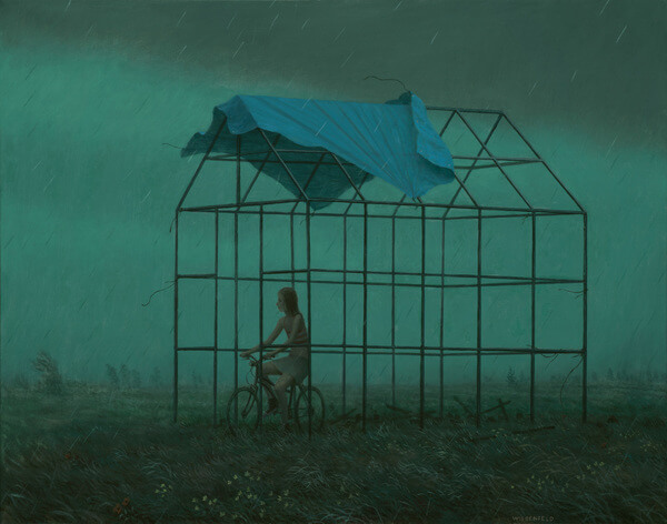 Aron Wiesenfeld girl on bike in dark field painting