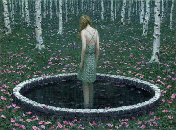 Aron Wiesenfeld girl standing in pond painting