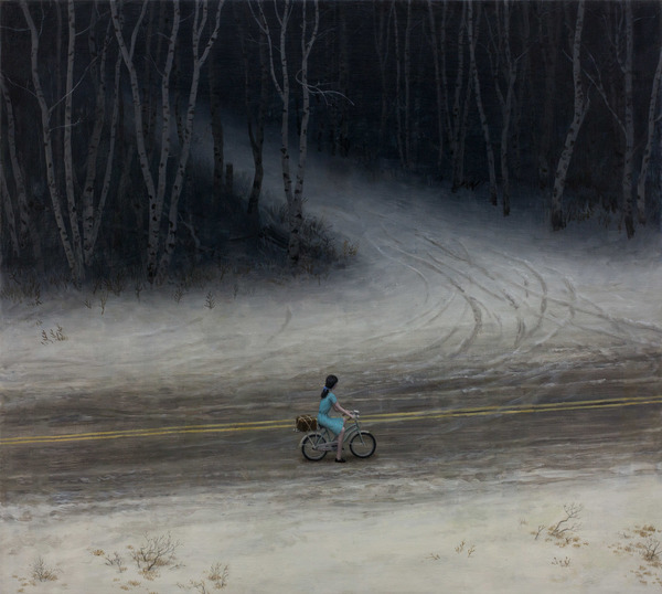 Aron Wiesenfeld girl riding bike past dark road painting