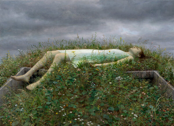 Aron Wiesenfeld girl lying down in grass painting