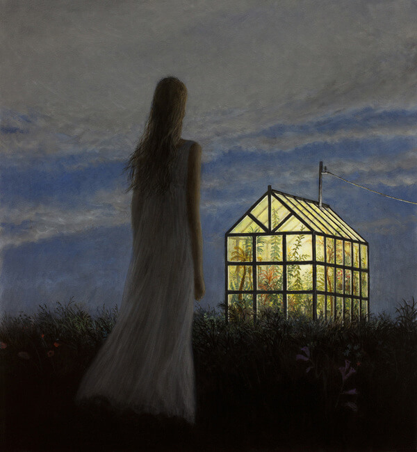 Aron Wiesenfeld girl and greenhouse at night painting