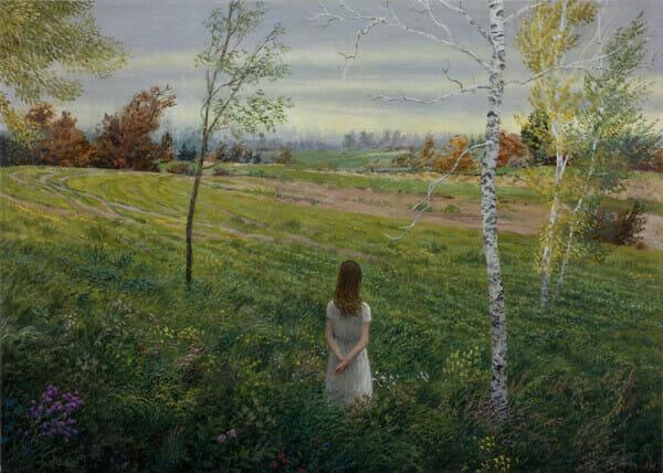Aron Wiesenfeld girl in green field painting