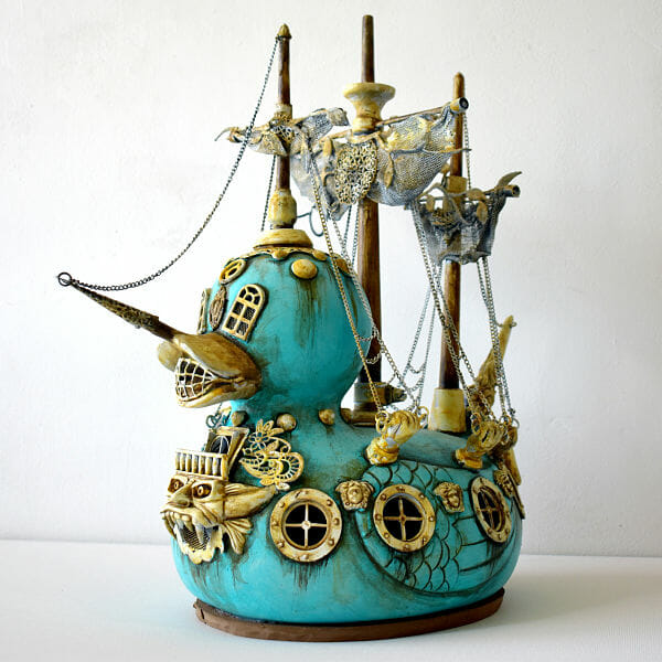 costa magarakis duck pirate ship familiars sculpture