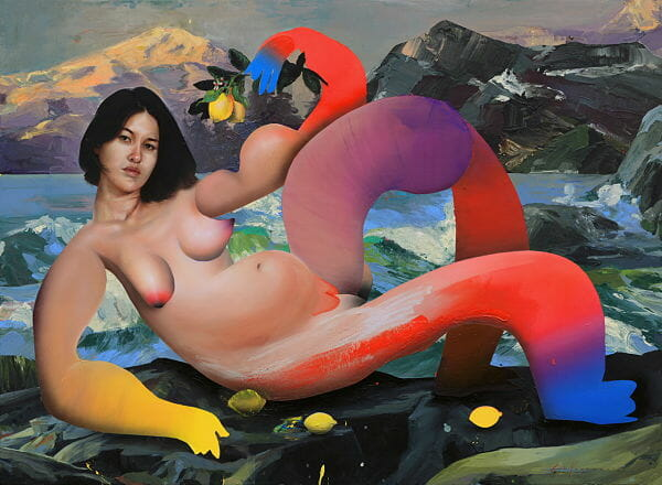 Erik Jones Country exhibition nude woman abstract painting