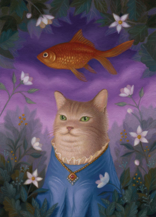 Gina Matarazzo cat goldfish painting