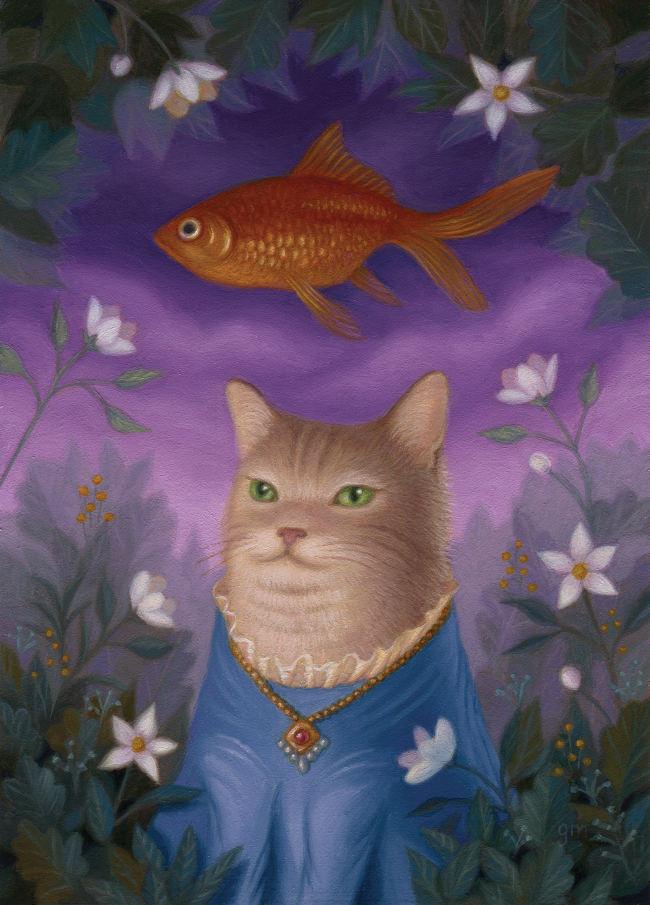 Gina Matarazzo cat goldfish painting