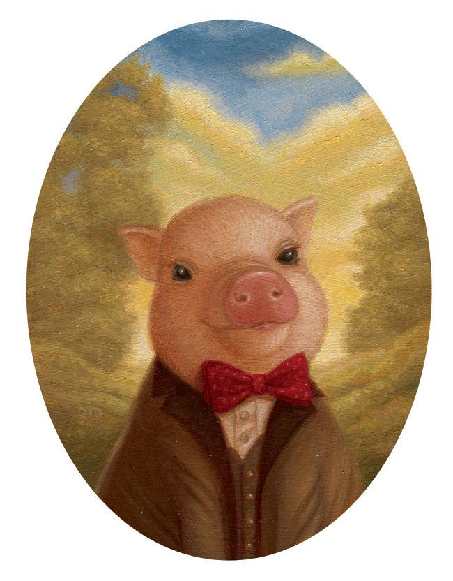 Gina Matarazzo pig portrait painting