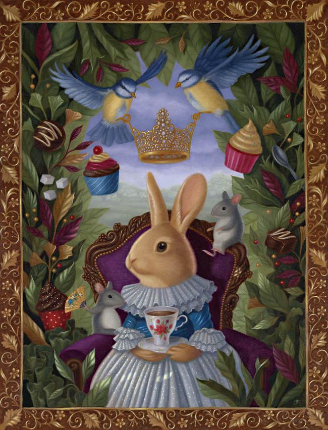 Gina Matarazzo tea rabbit painting