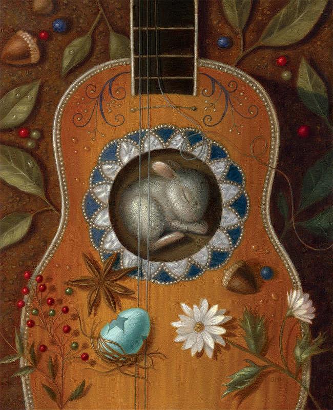 Gina Matarazzo sleeping guitar painting