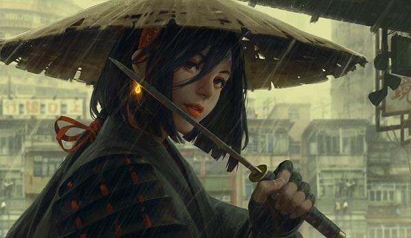 Guweiz digital painting girl with umbrella