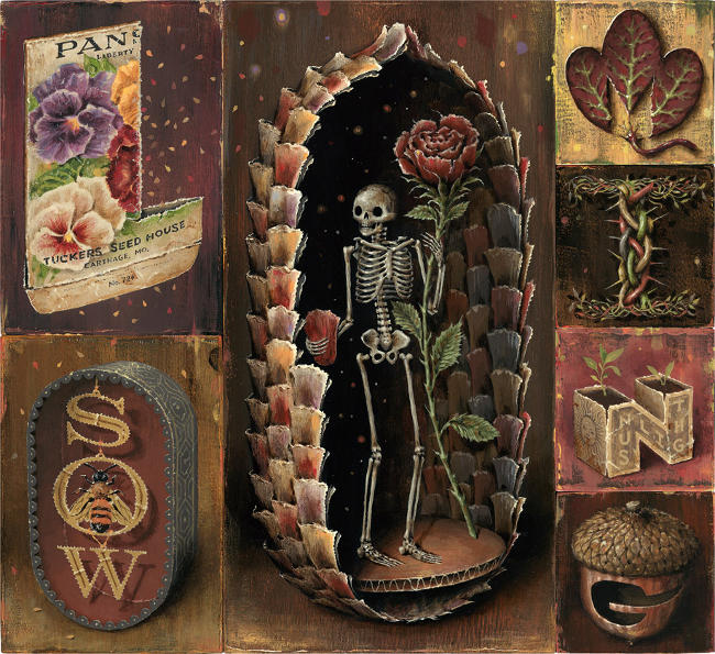Jason Limon death skeleton and rose painting