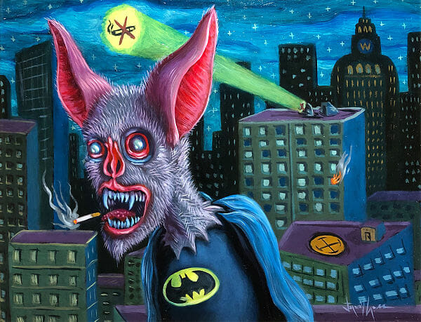 Jeremy Cross pop surreal bat batman familiars painting