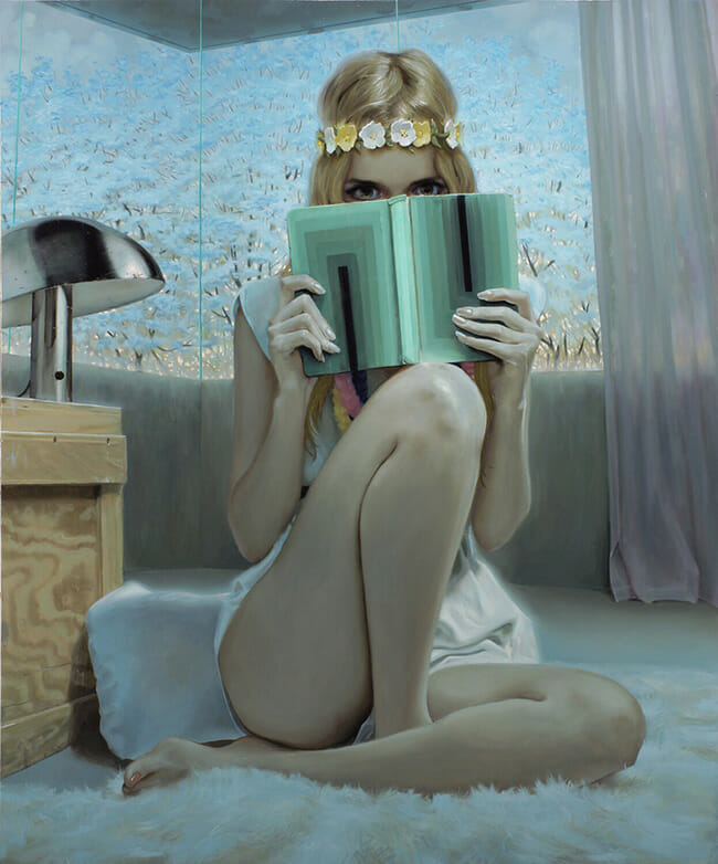 Jonathan Viner girl with flowers and book painting