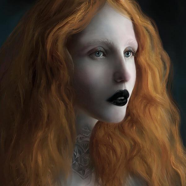Juliana Loomer red head eclipse digital painting
