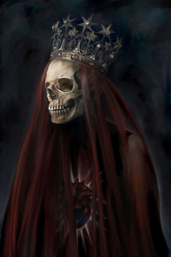 Juliana Loomer queen of hearts skull digital painting