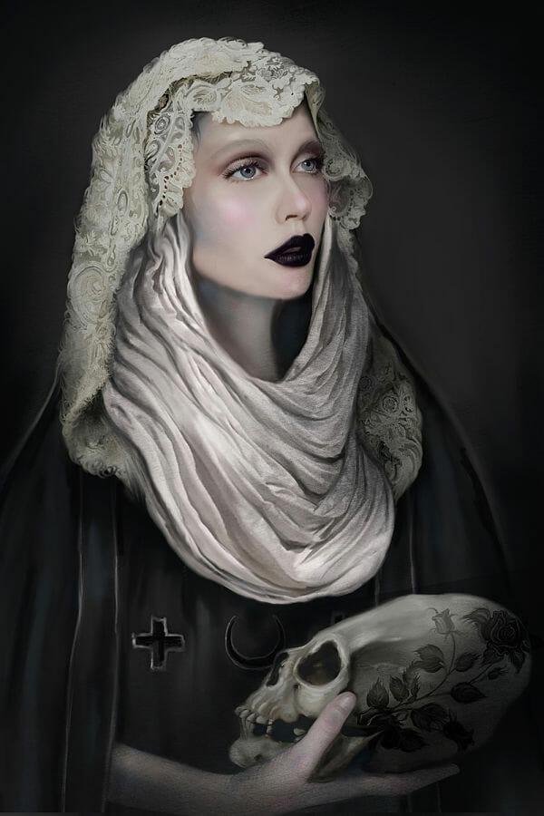Juliana Loomer skull keeper dark art digital painting