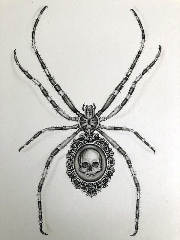 Kerri Hobba Mutant Black Widow Spider familiars drawing