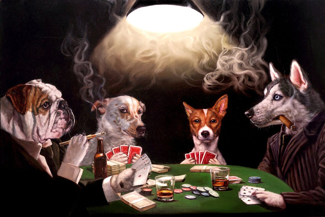 Lucia Heffernan dogs playing poker painting
