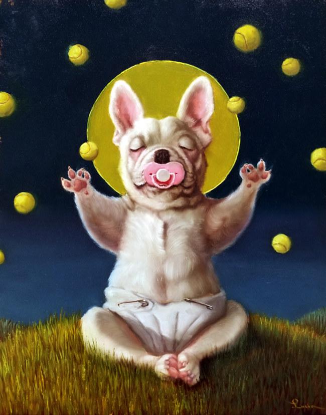 Lucia Heffernan meditating pug painting