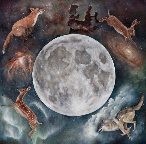 Meadow & Fawn surreal animal and moon painting