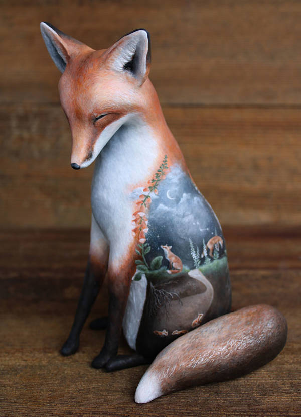 "Meadow & Fawn, ""Dance of Stars"" dreaming fox sculpture"